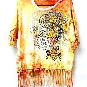 Baby Phat X Custom Tie Dye Shirt Cotton Tee Fringe